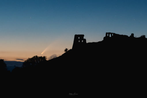 Dryslwyn Castle and comet Neowise