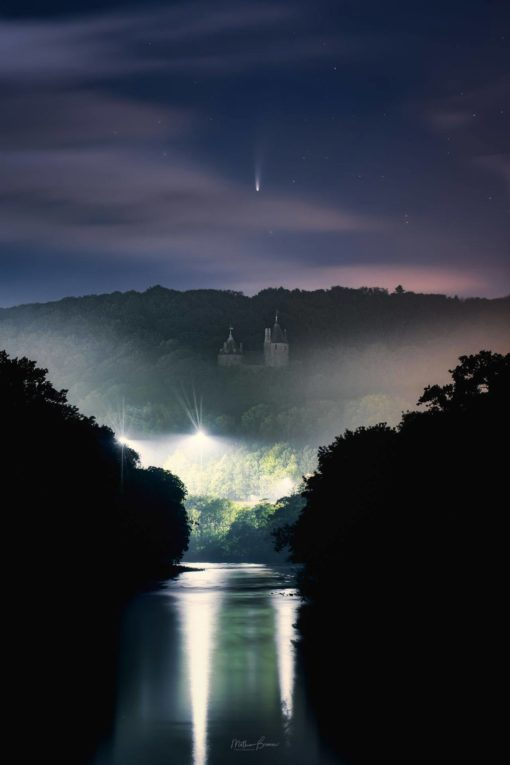 Comet NEOWISE above Castell Coch