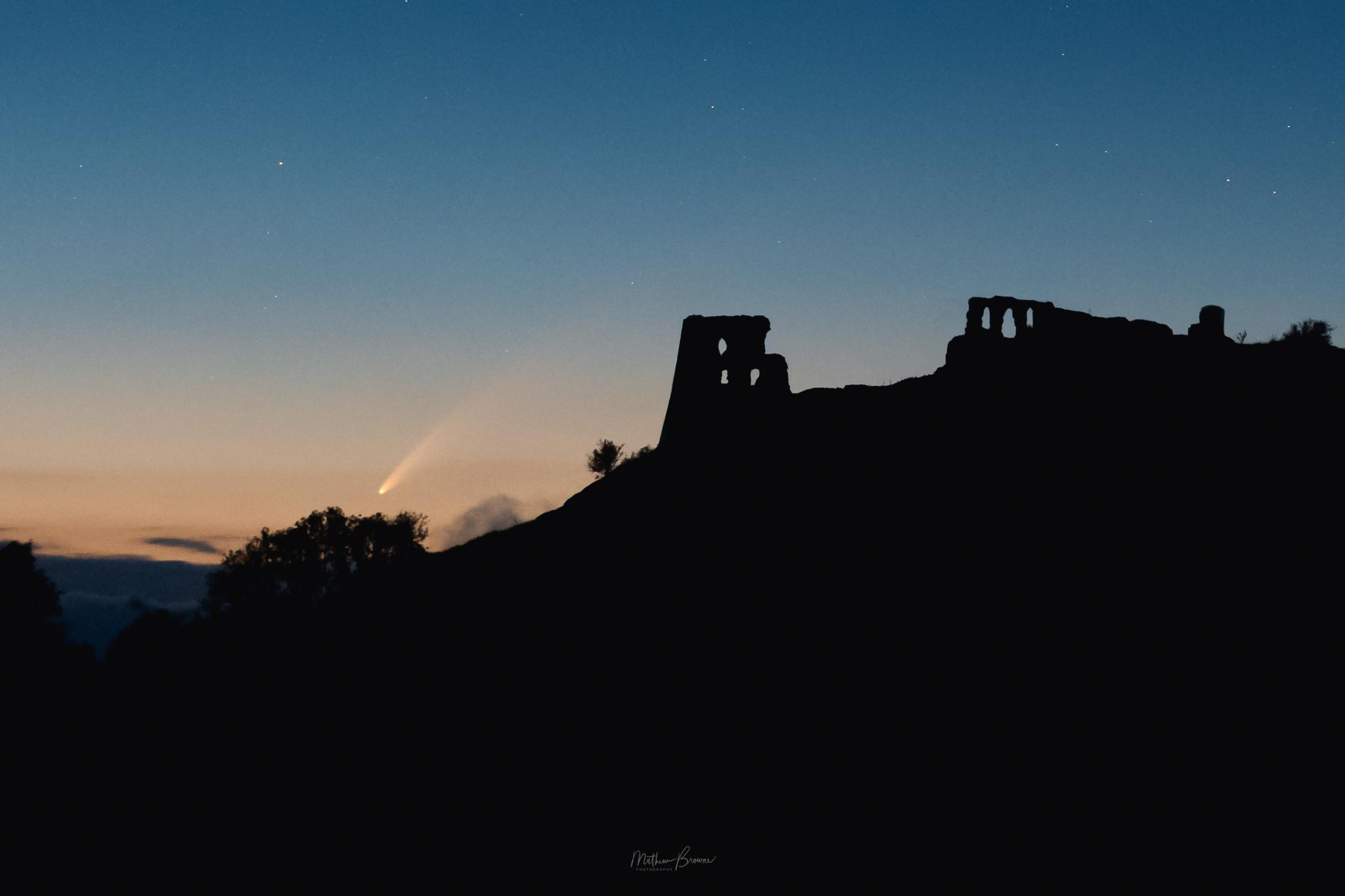 Dryslwyn Castle with comet NEOWISE