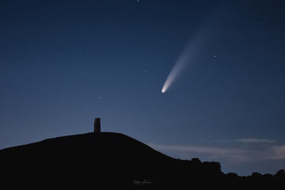 Glastonbury Tor with the comet Neowise above, in the early hours of July 11, 2020.