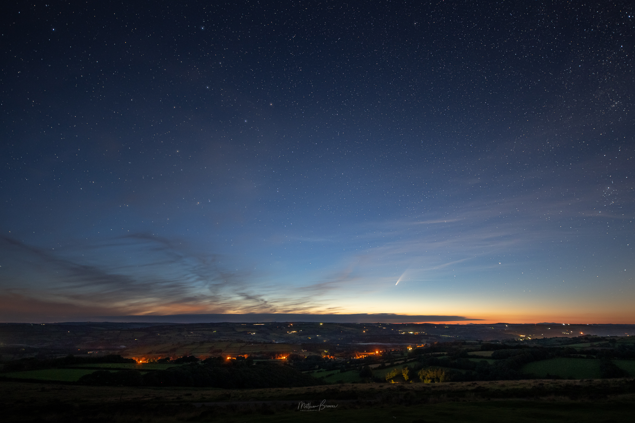 Llanllwni, Carmarthenshire, with comet NEOWISE