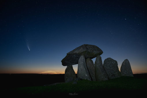 Pentre Ifan Burial Chamber, Pembrokeshire - with the comet Neowise and a faint display of the elusive noctilucent clouds.